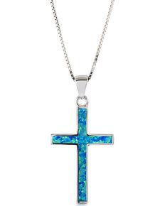 Kelly Herd Women's Blue Opal Cross Pendant Necklace , Silver, hi-res