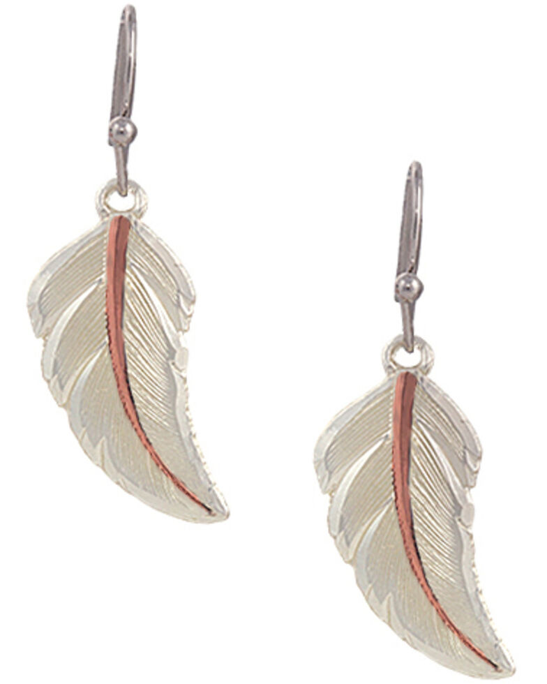 """Montana Silversmiths """"No Dream is Too Small"""" Two Tone Feather Earrings, Silver, hi-res"""
