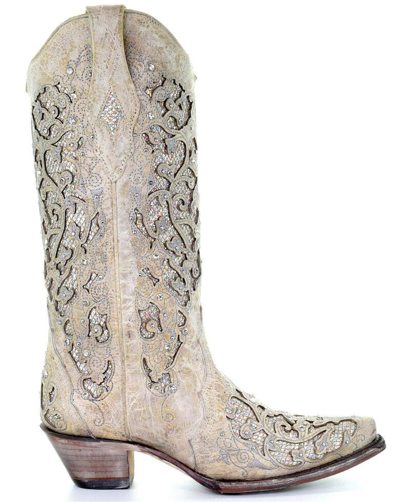 9506cc03614 Corral Women's Glitter Inlay and Crystals Wedding Boots - Snip Toe