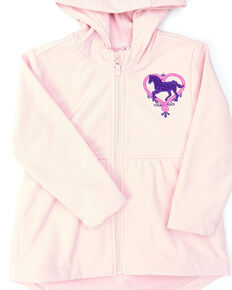 Shyanne Toddler Girls' Pink Peplum Embroidered Horse Heart Zip-Front Hoodie, Pink, hi-res