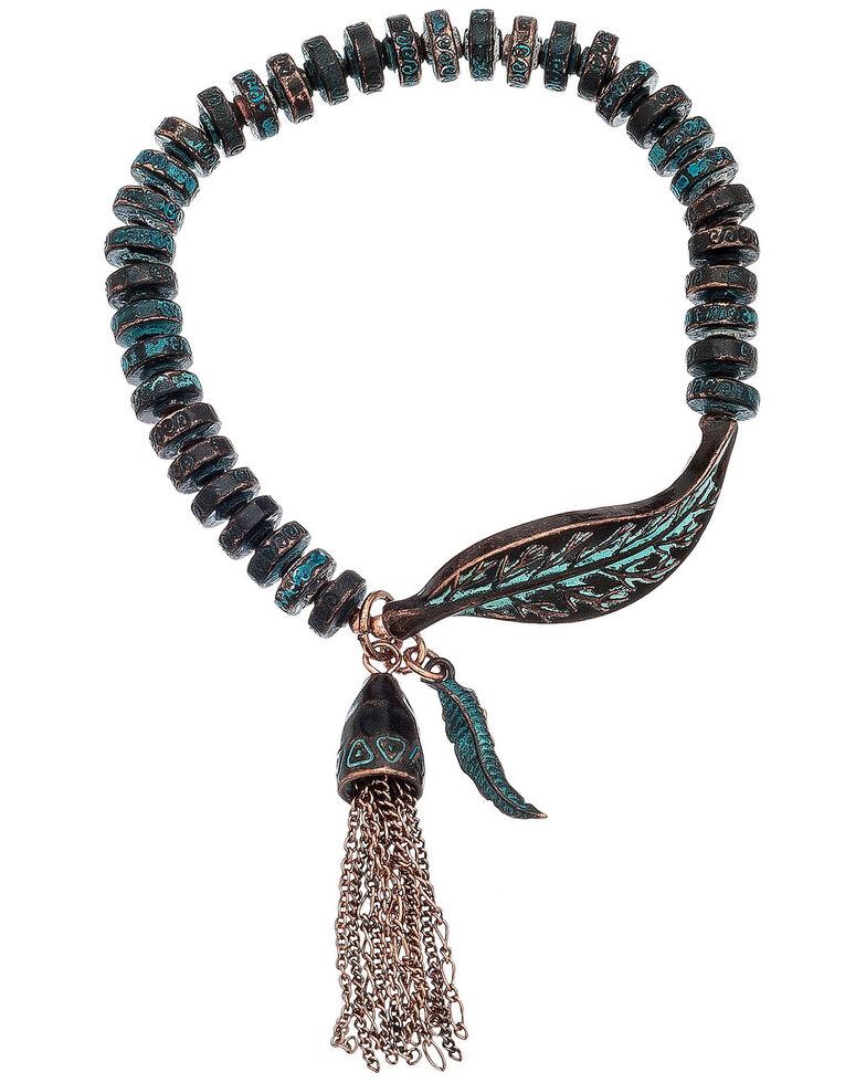 Howard's Women's Vintage Turquoise Leaf & Tassel Stretch Bracelet, Turquoise, hi-res