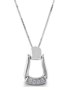 Kelly Herd Women's Small Stone Base Oxbow Stirrup Necklace , Silver, hi-res