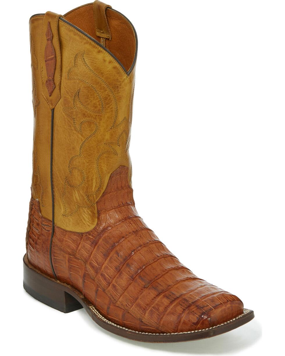 Tony Lama Men's Brandy Burnished Caiman Belly Cowboy Boots - Square Toe, Tan, hi-res