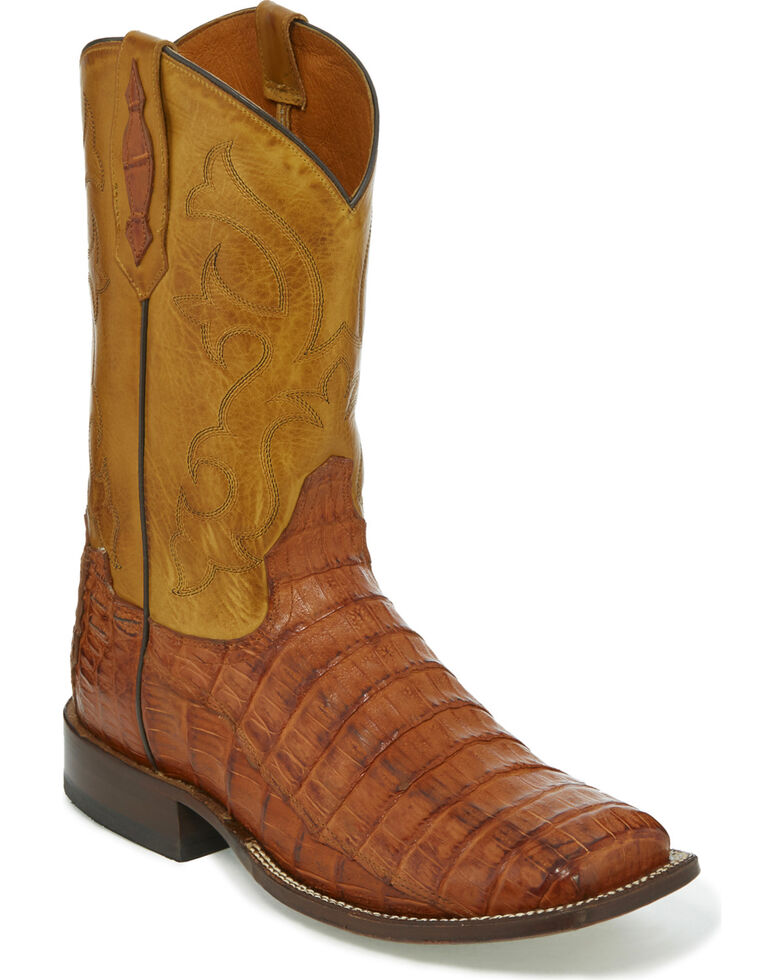 c0f34492371 Tony Lama Men's Brandy Burnished Caiman Belly Cowboy Boots - Square Toe