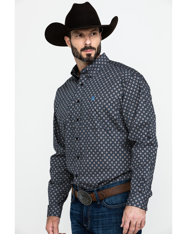 Cinch Men's Multi Mixed Geo Print Long Sleeve Western Shirt , Purple, hi-res