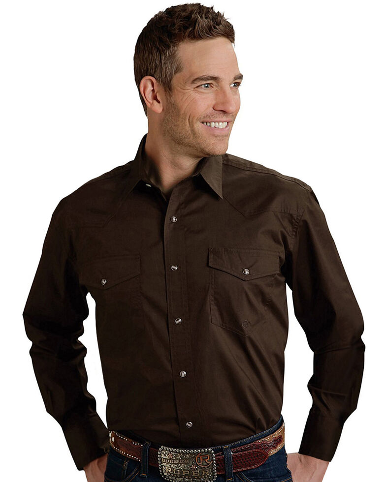 Roper Men's Amarillo Collection Solid Long Sleeve Western Shirt, Brown, hi-res