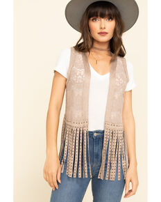 Vocal Women's Lace Studded Fringe Vest, Camel, hi-res