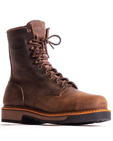 Silverado Men's Brown Lace-Up Work Boots - Steel Toe, Brown, hi-res