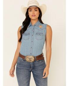 Ely Walker Women's Light Denim Aztec Yoke Sleeveless Snap Western Shirt , Blue, hi-res