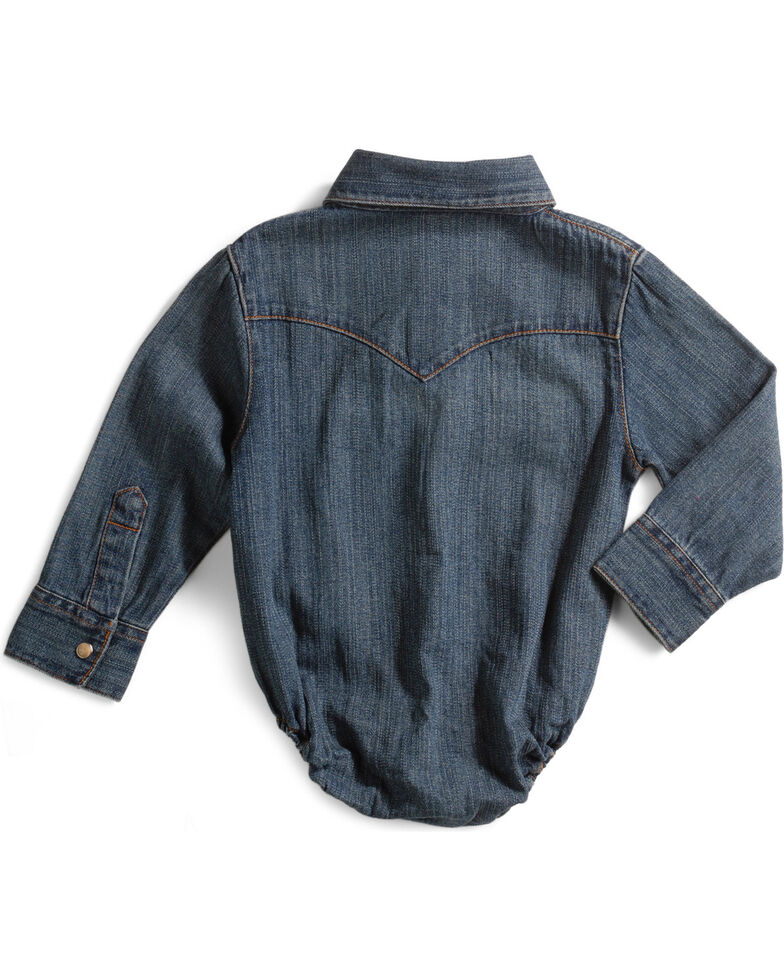 Wrangler Infant Boys Denim Shirt Bodysuit - 3-18 months, Denim, hi-res