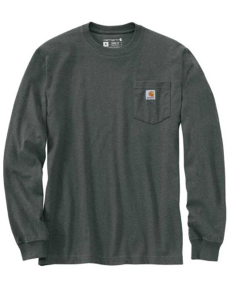 Carhartt Men's Iron Ore Solid Pocket Long Sleeve Work T-Shirt - Tall , Green, hi-res
