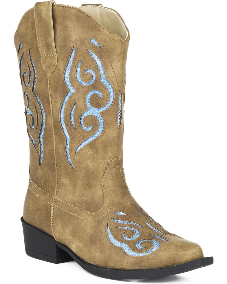 Roper Girls' Glitter Gracie Cowgirl Boots - Snip Toe, Tan, hi-res