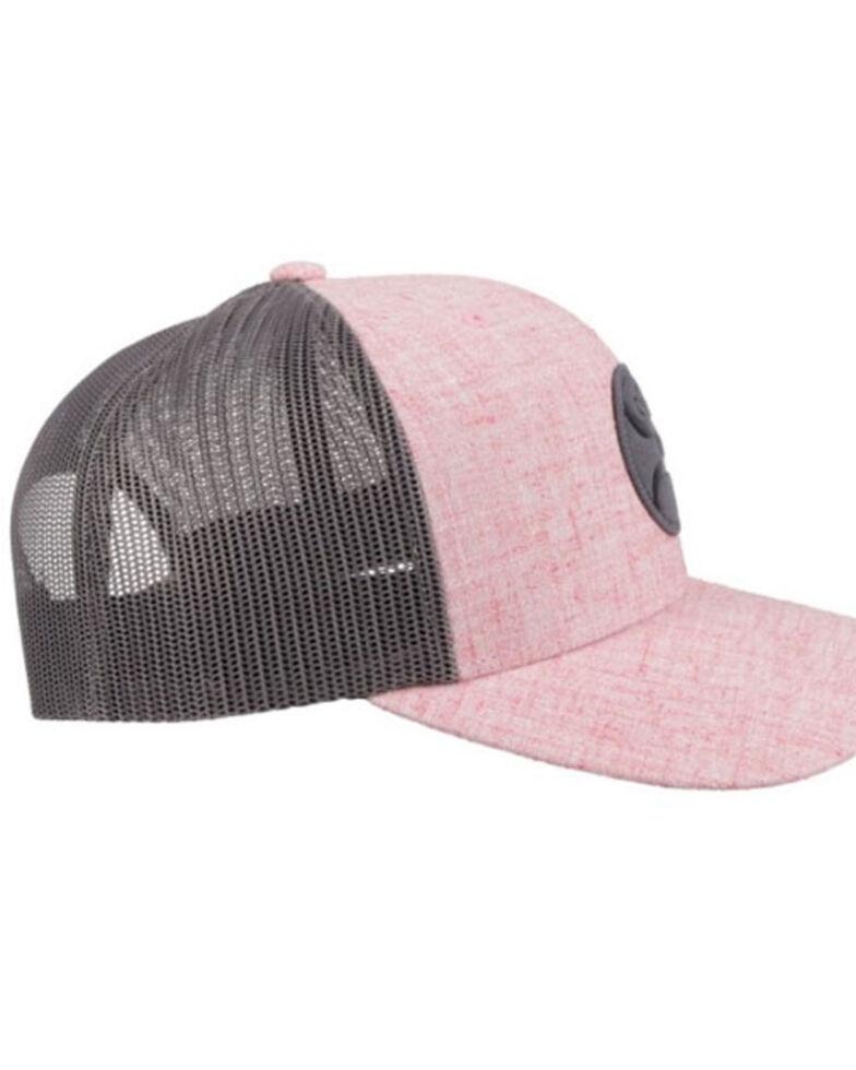 HOOey Men's Plush Logo Circle Patch Mesh Back Trucker Cap , Pink, hi-res