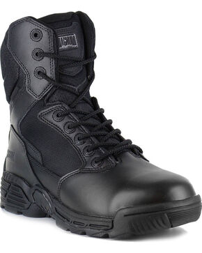 Magnum Men's Stealth Force Side Zip Waterproof Work Boots - Round Toe, Black, hi-res