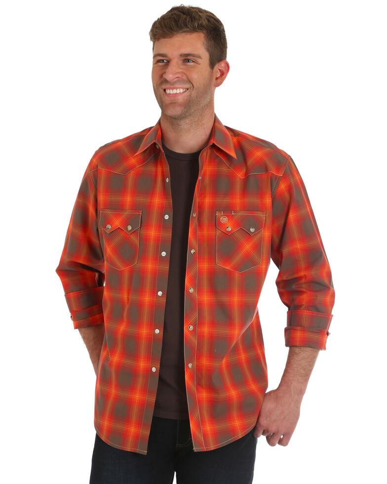 17e07eed Zoomed Image Wrangler Men's Retro Orange Plaid Shirt, Orange, hi-res