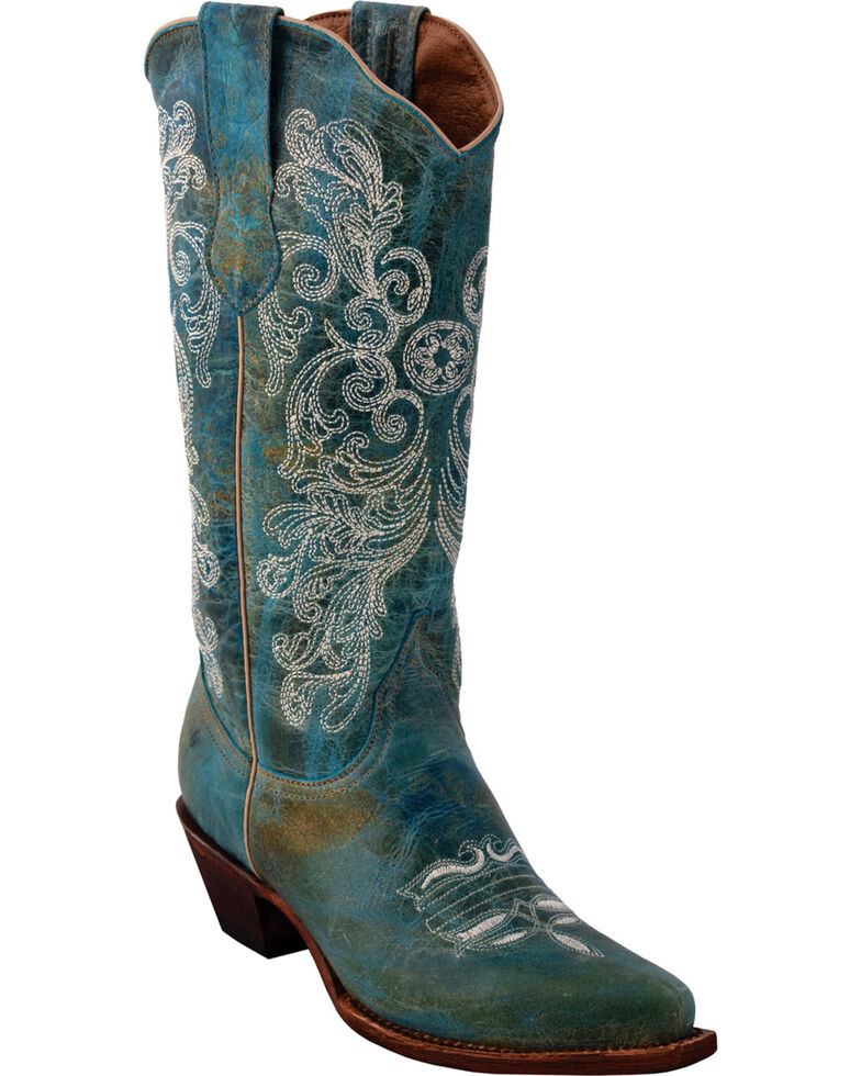 4c3bb63c6c4 Ferrini Women's Southern Charm Turquoise Cowgirl Boots - Snip Toe