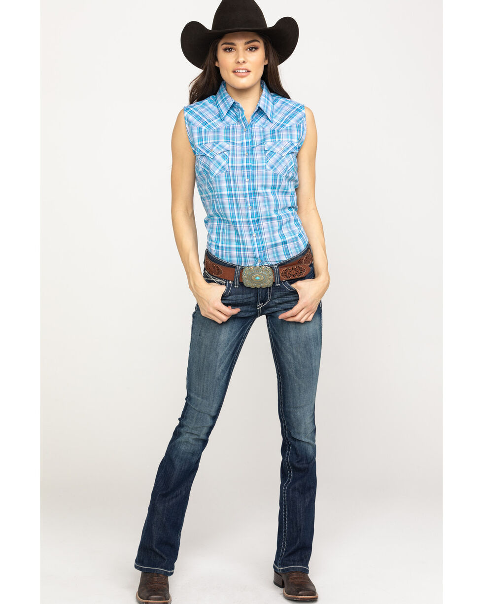 Cumberland Outfitters Women's Blue Plaid Snap Sleeveless Western Shirt, Blue, hi-res