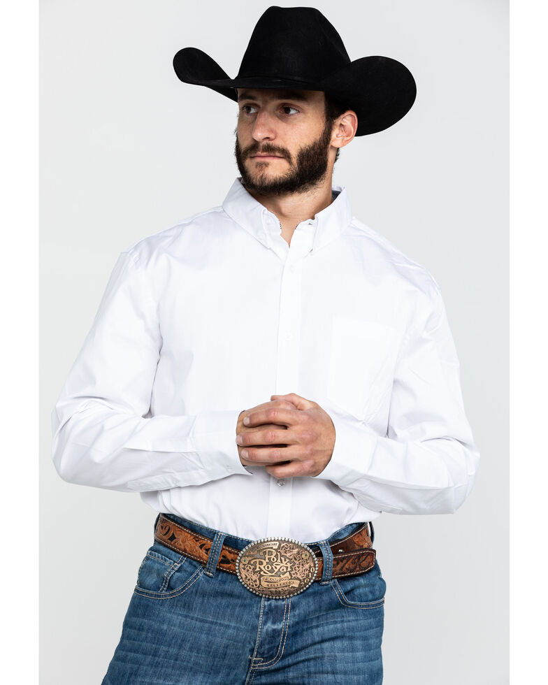 Cody James Core Men's White Solid Long Sleeve Western Shirt , White, hi-res