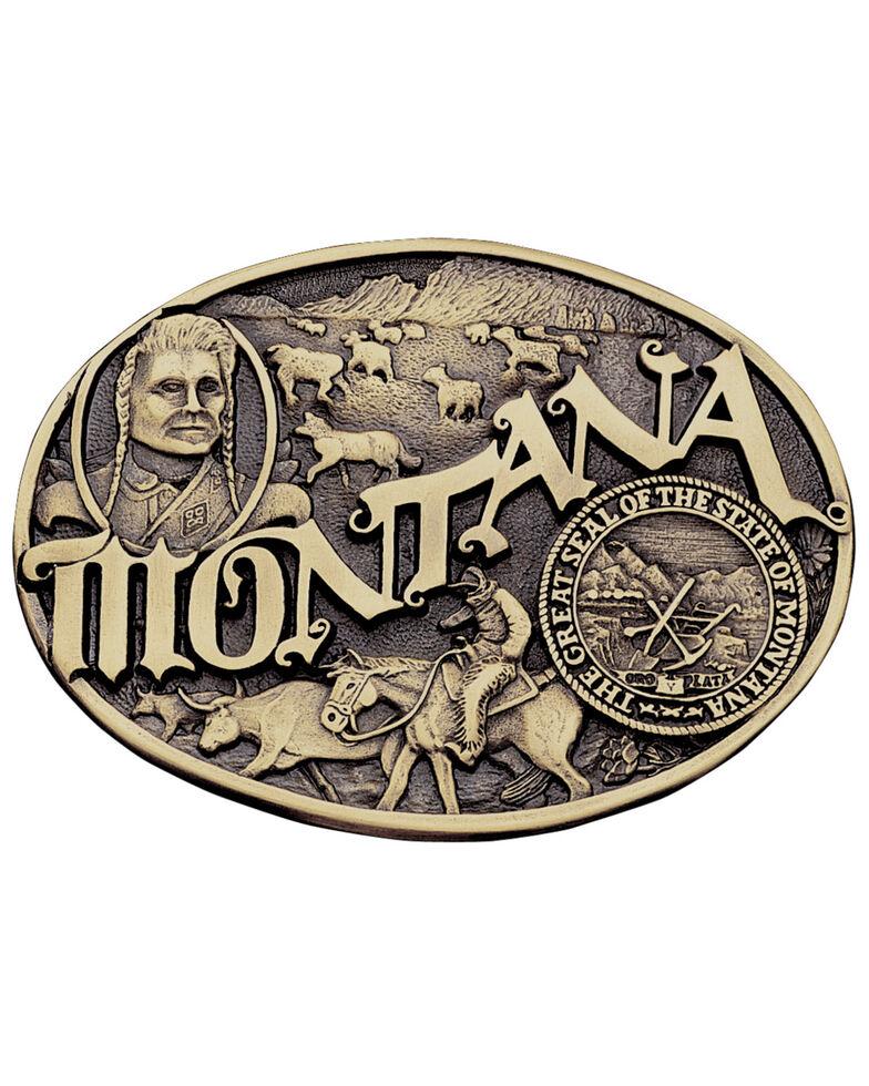 Montana Silversmiths Montana State Heritage Attitude Belt Buckle, Gold, hi-res