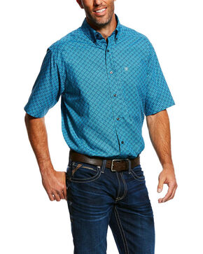 Ariat Men's Mobus Geo Print Short Sleeve Western Shirt - Big & Tall , Blue, hi-res