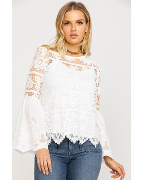 Bodywaves Women's Lace Crochet Bell Sleeve Top, White, hi-res