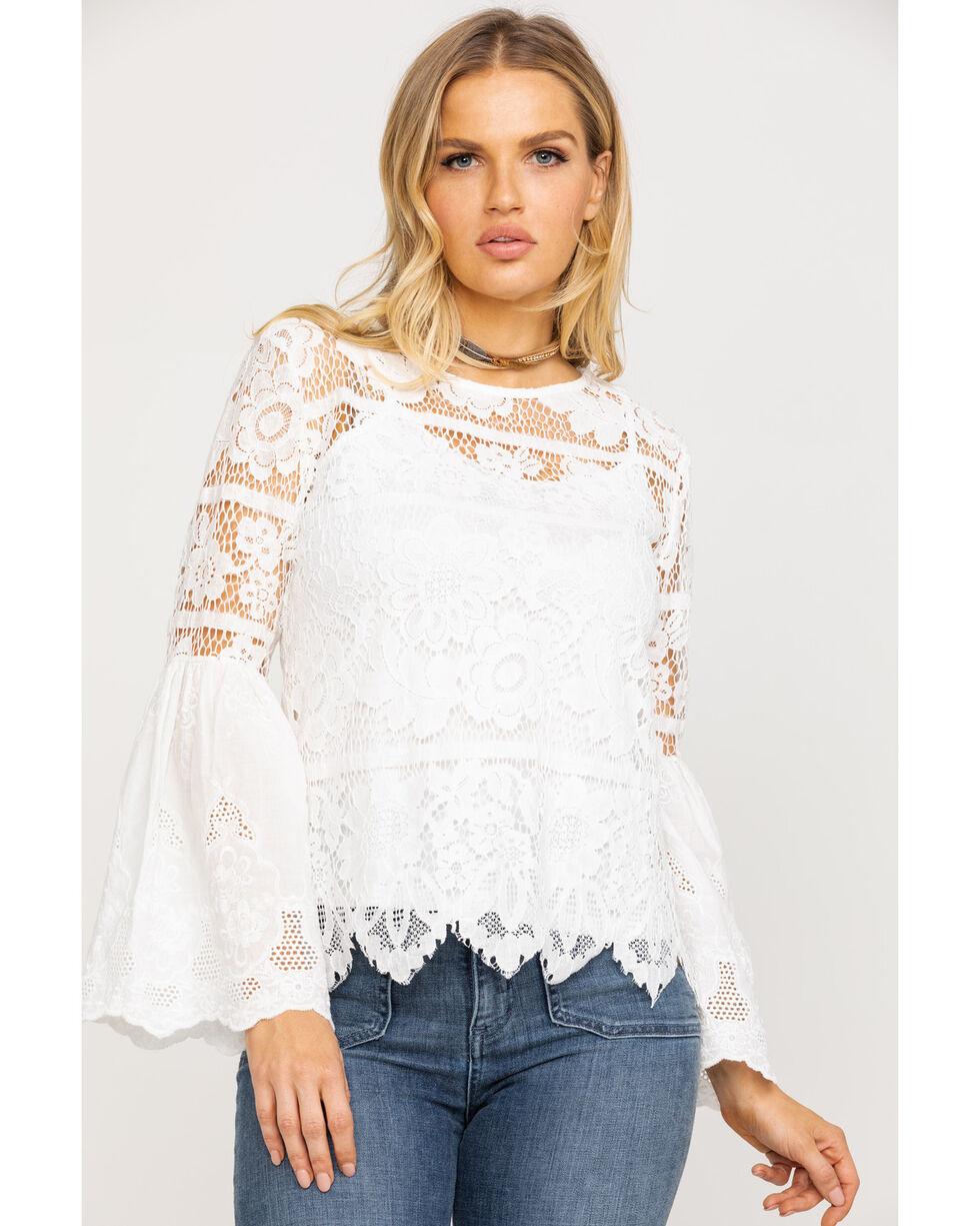 Bodywaves Women's Lace Crochet Bell Sleeve Top, White, hi-res