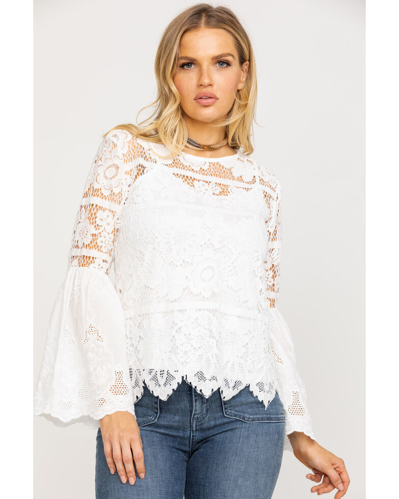 2a844b28444f Zoomed Image Bodywaves Women's Lace Crochet Bell Sleeve Top, White, hi-res