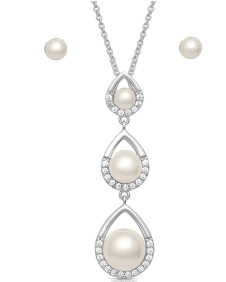 Montana Silversmiths Women's Perfect Pearl Teardrop Jewelry Set, Silver, hi-res
