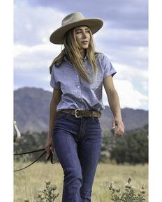 Kimes Ranch Women's Indigo Ranchester Short Sleeve Button-Down Western Shirt, Dark Blue, hi-res