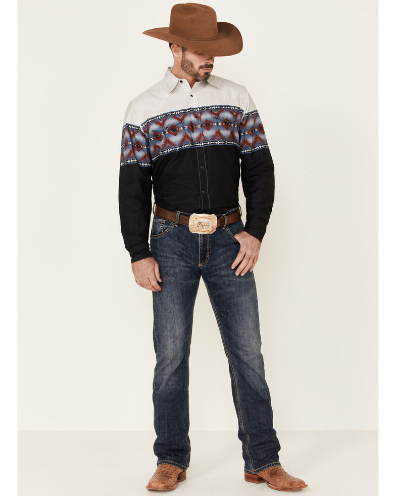 Roper Men's Vintage Blanket Aztec Border Print Long Sleeve Snap Western Shirt , Black, hi-res