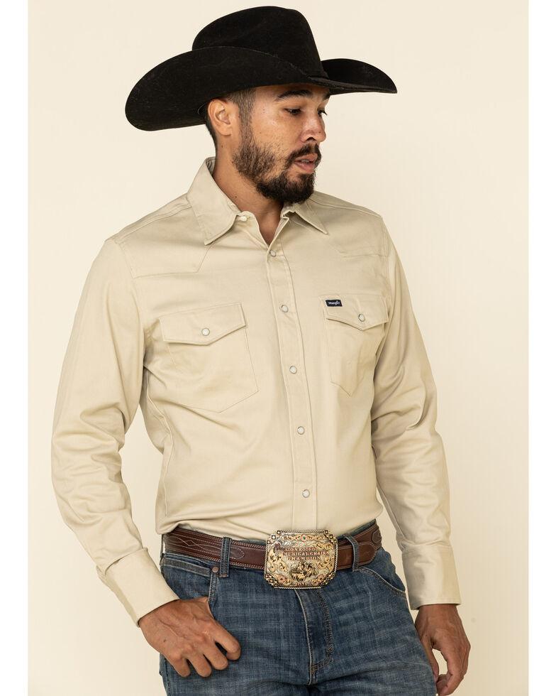 Wrangler Men's Solid Advanced Comfort Long Sleeve Work Shirt, Sand, hi-res