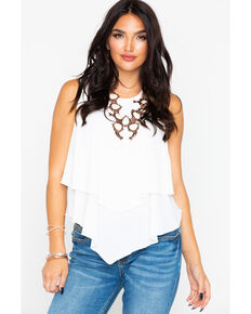 7acb114fdb0 Panhandle Women s White Crepe Double Layer Flutter Tank