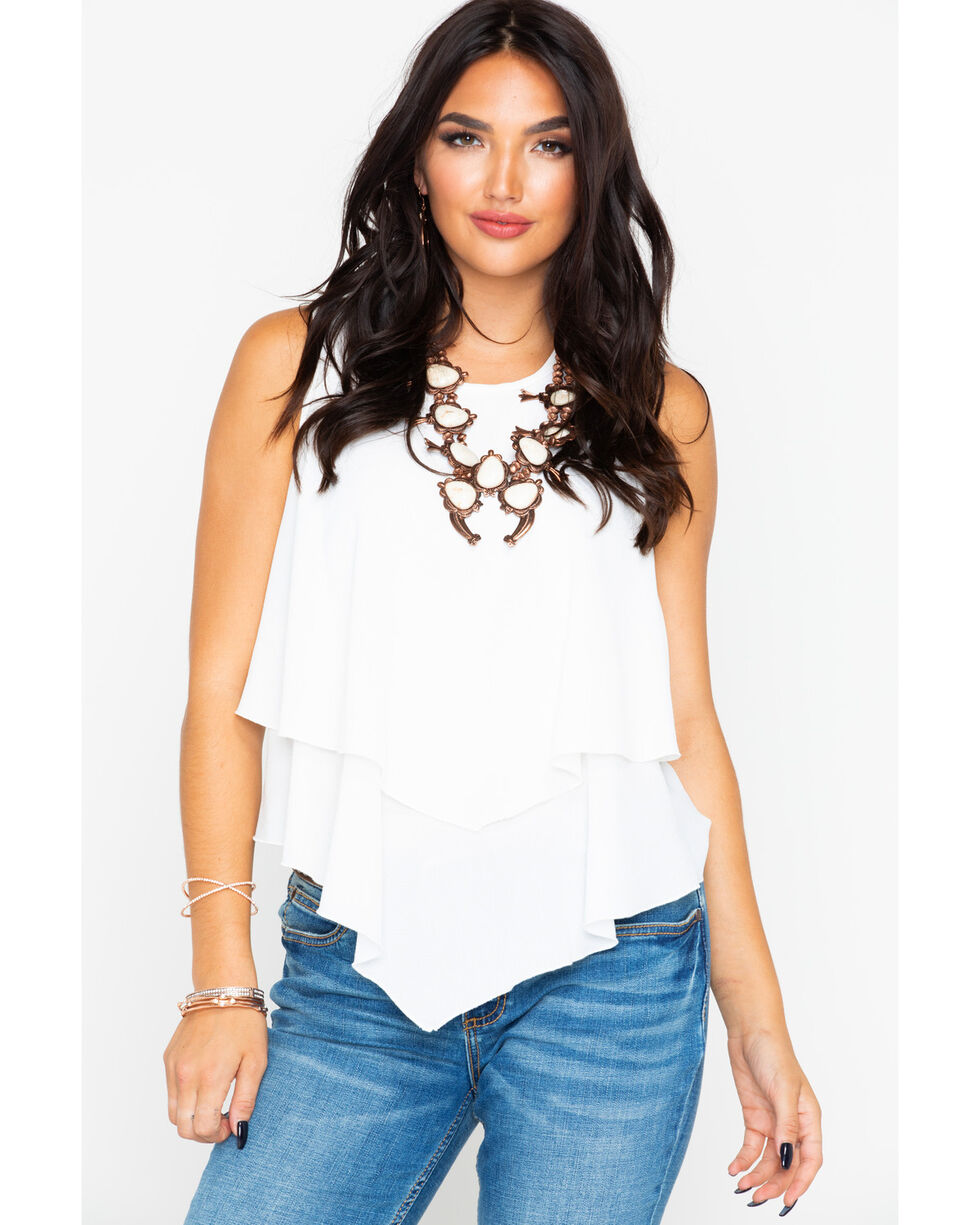 Panhandle Women's White Crepe Double Layer Flutter Tank, White, hi-res