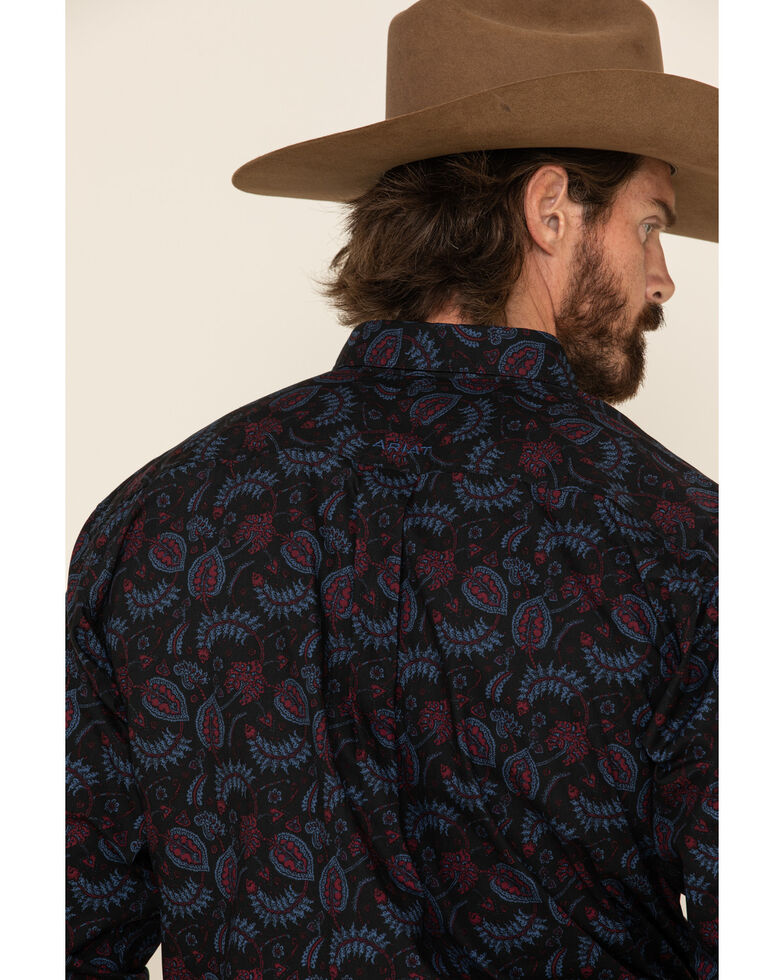 Ariat Men's Razin Stretch Paisley Print Long Sleeve Western Shirt , Black, hi-res