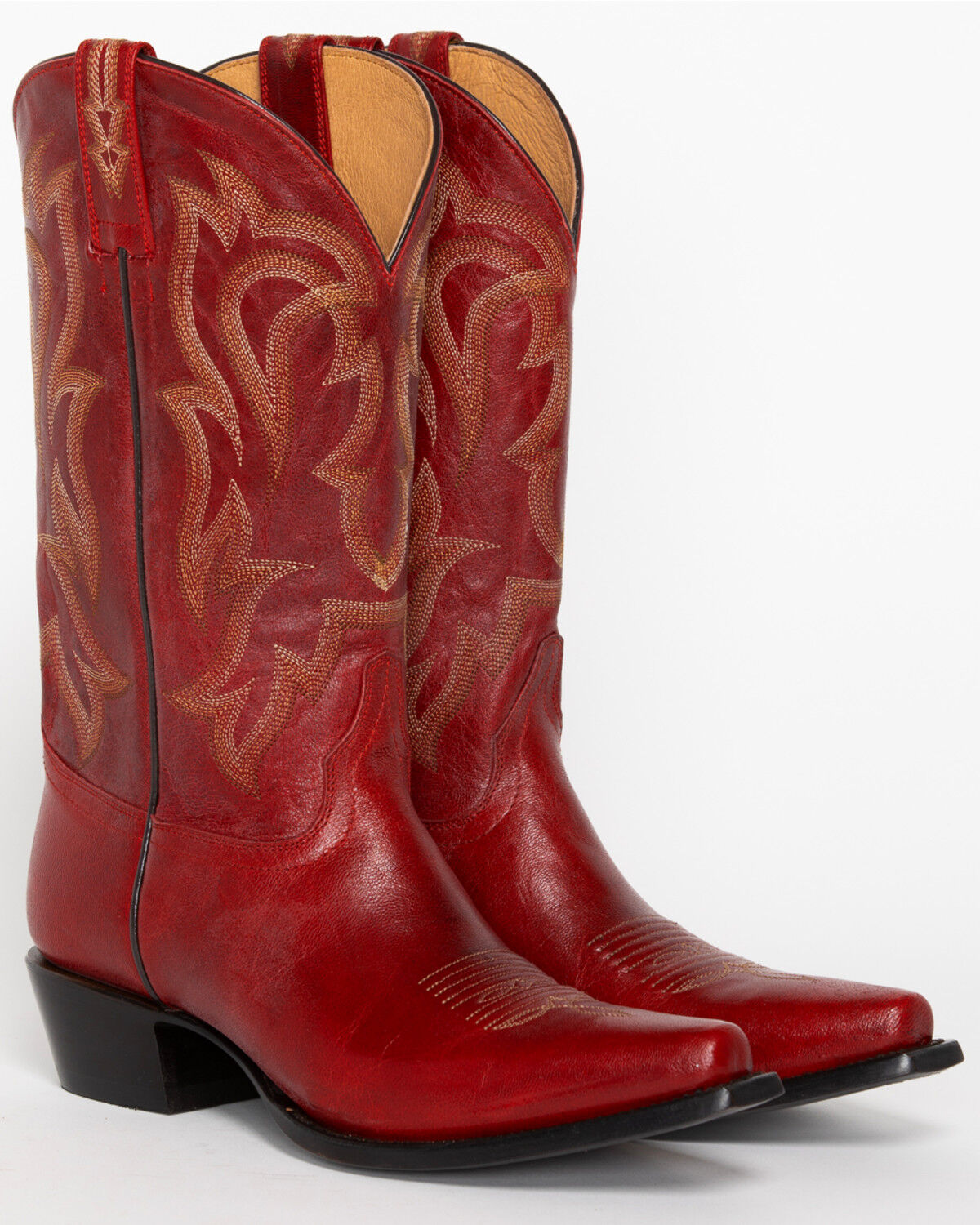 Red Leather Cowgirl Boots - Snip Toe