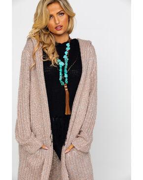 Mystree Women's Dusty Rose Hooded Cardigan Sweater , Blush, hi-res