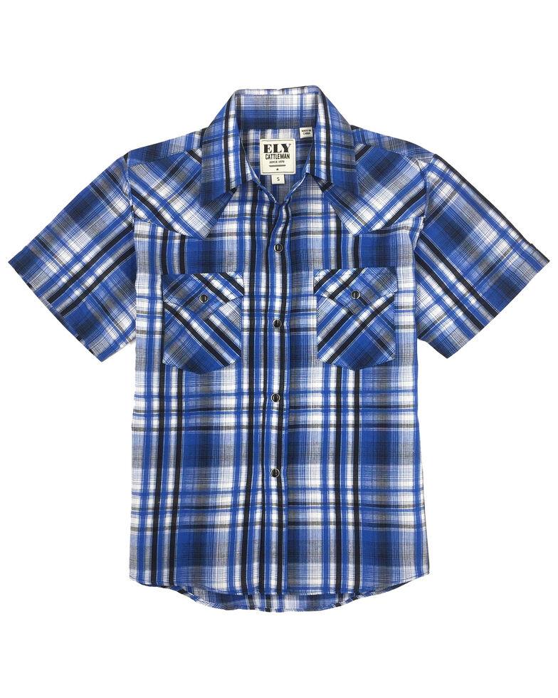 Ely Walker Boys' Blue Plaid Short Sleeve Western Shirt , Blue, hi-res