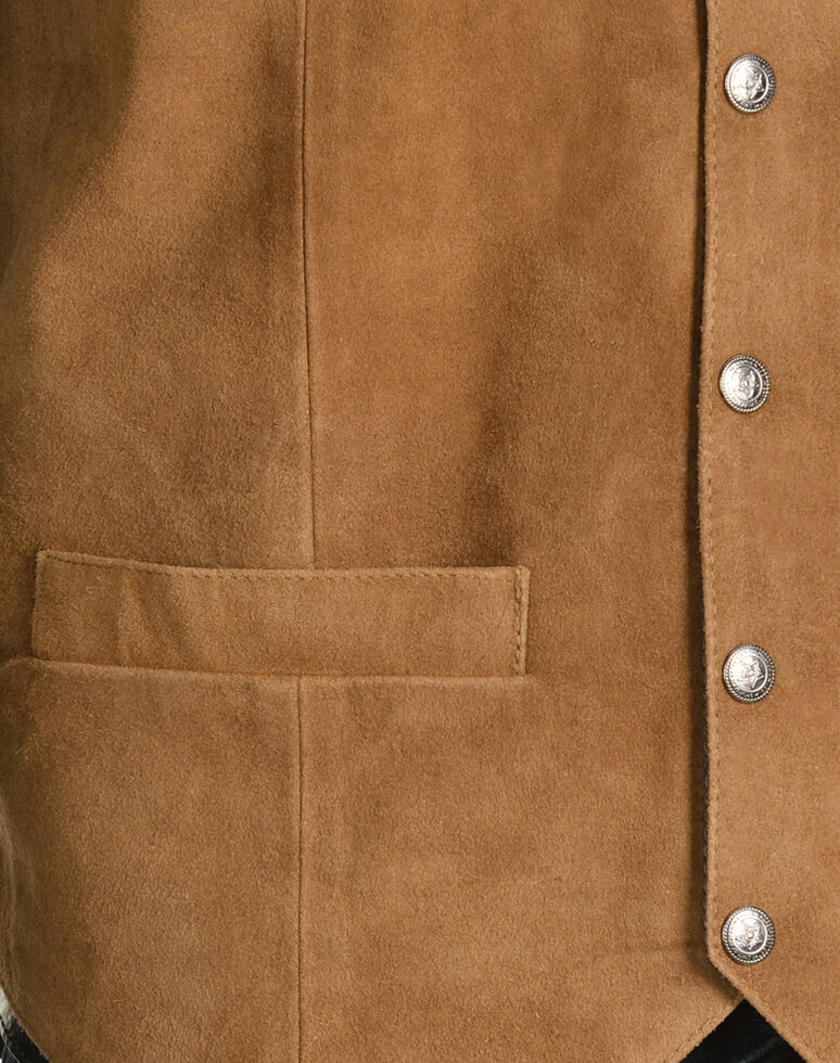 Scully Calfskin Suede Snap Front Vest, Rust, hi-res