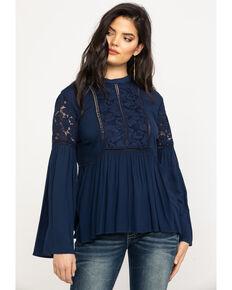 Ariat Women's Nita Long Sleeve Top, Navy, hi-res