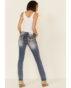 "Miss Me Women's Medium Border Pocket 33"" Straight Jeans  , Blue, hi-res"