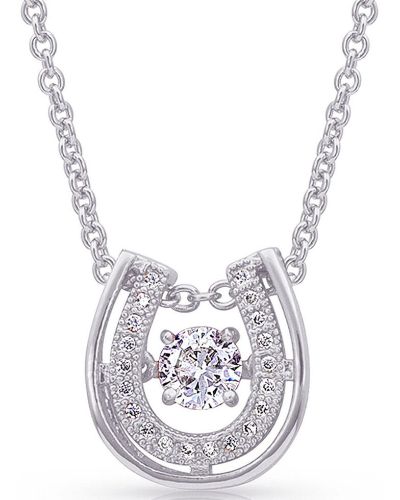Montana Silversmiths Women's Dancing With Luck Horseshoe Necklace, Silver, hi-res