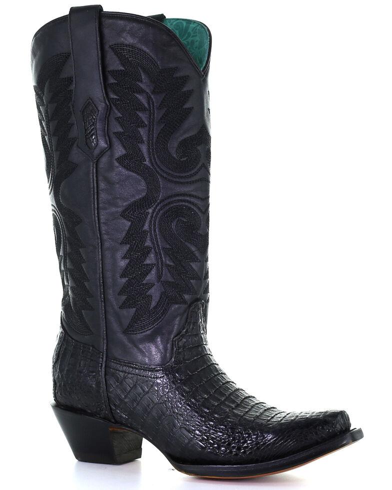 Corral Women's Exotic Caiman Skin Western Boots - Snip Toe, Black, hi-res