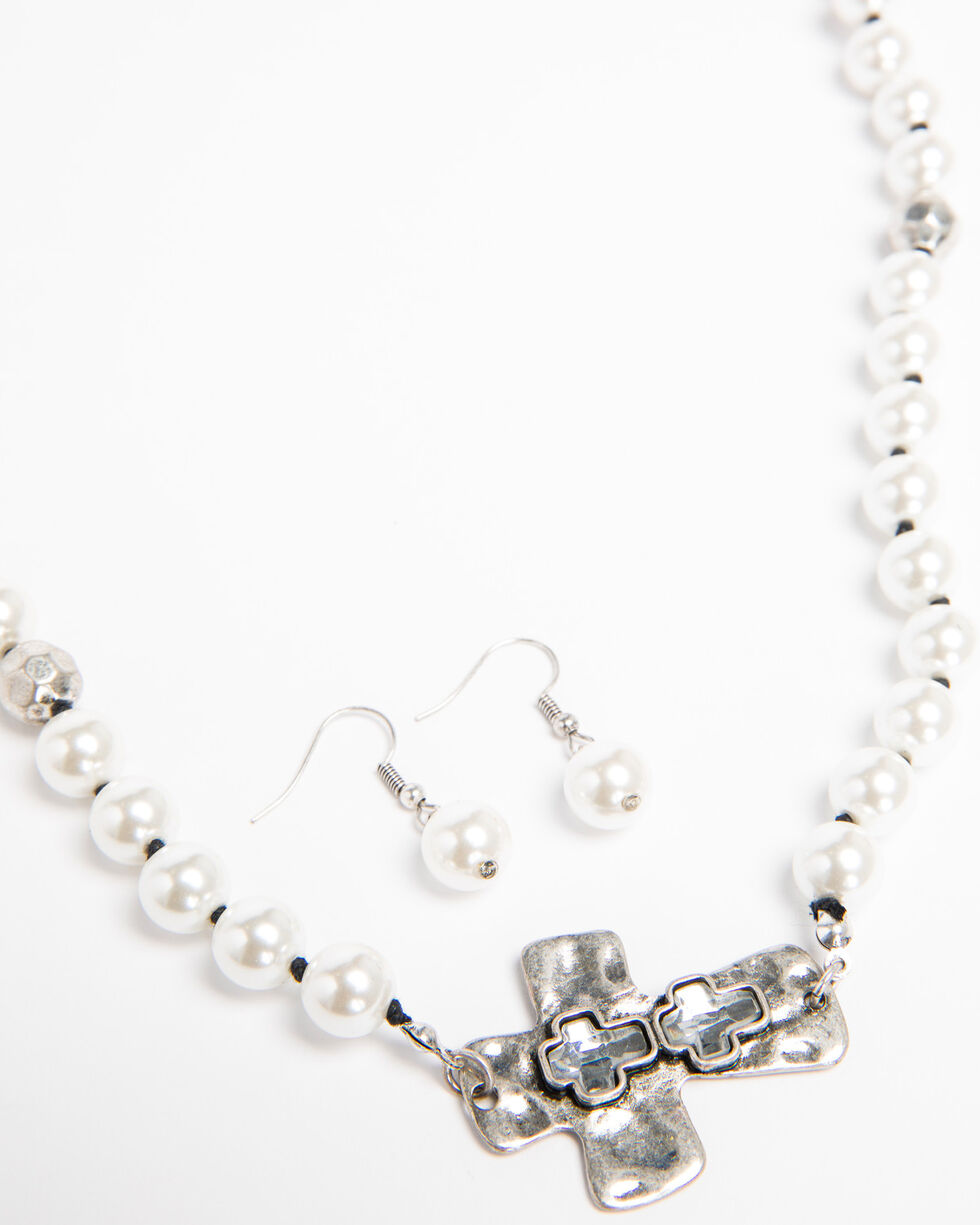 Shyanne Women's Crystal Cross Mother Pearl Cross Necklace Set, Silver, hi-res