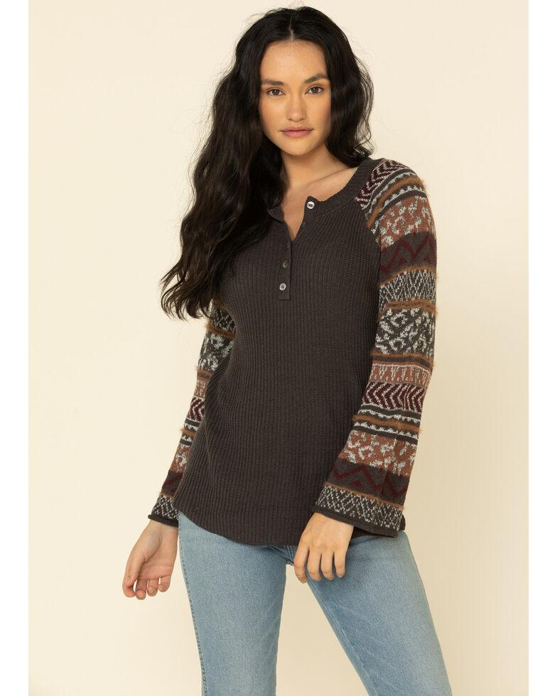 Mystree Women's Brown Contrast Print Henley Sweater , Brown, hi-res