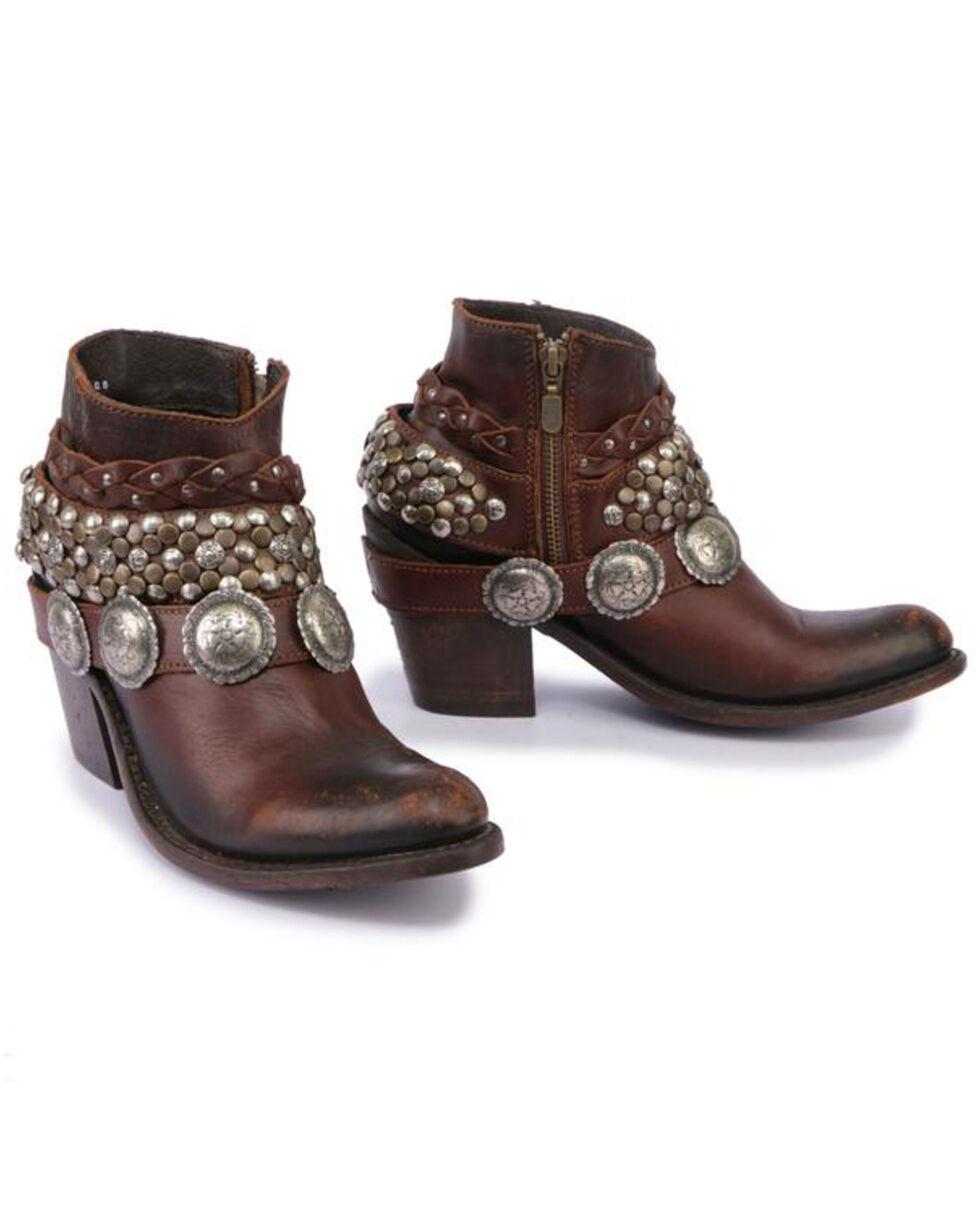 Liberty Black Women's Toscano T-Moro Concho Harness Booties - Medium Toe , Brown, hi-res