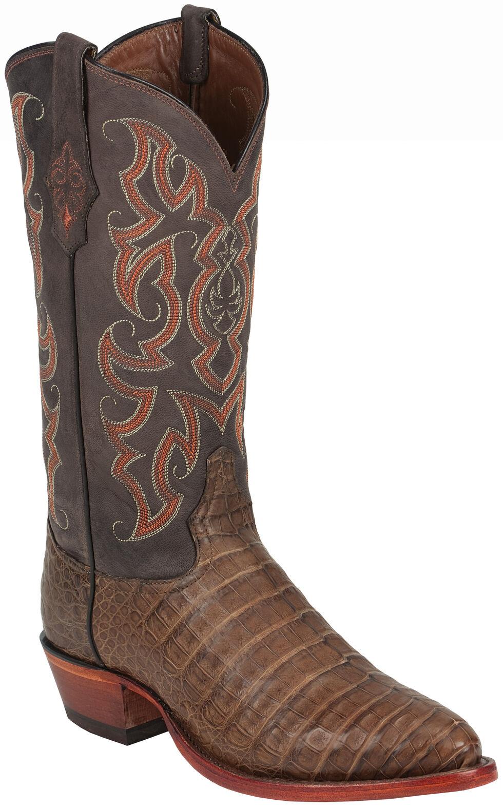Tony Lama Chocolate Vintage Belly Exotics Caiman Western Boots - Medium Toe  , Chocolate, hi-res