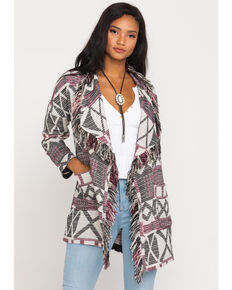 Shyanne Women's Purple Aztec Fringe Coat, Purple, hi-res