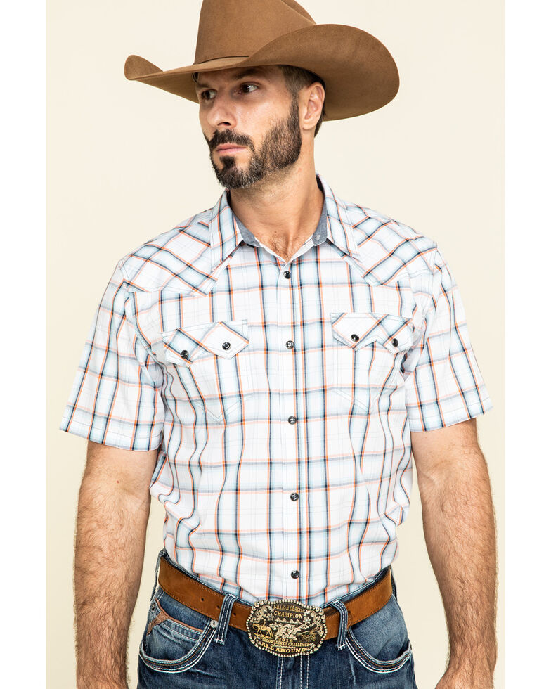 Cody James Men's Neon Glow Plaid Short Sleeve Western Shirt , White, hi-res