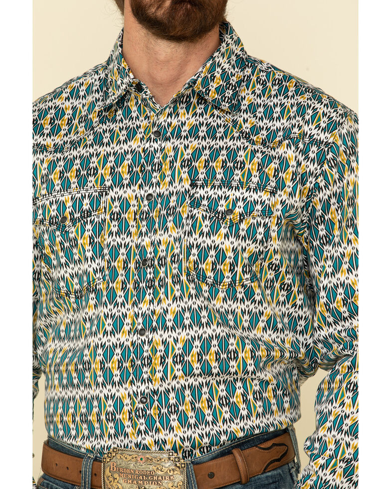 Wrangler 20X Men's Advanced Comfort Teal Aztec Geo Print Long Sleeve Western Shirt , Teal, hi-res