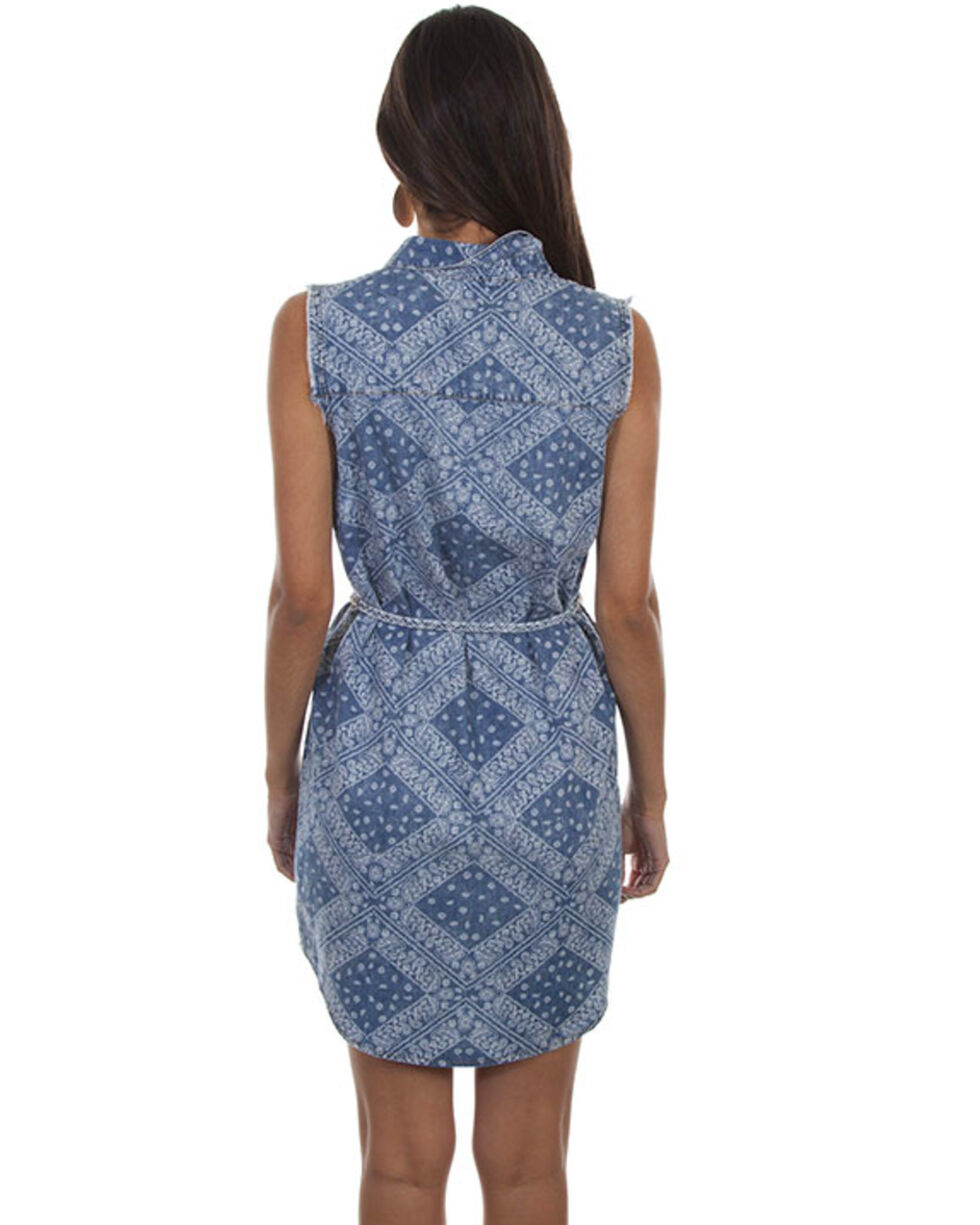 Scully Women's Bandana Sleeveless Button Front Tie Belt Dress, Blue, hi-res